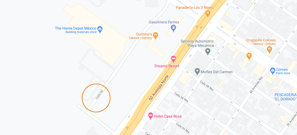 google map with event location circled